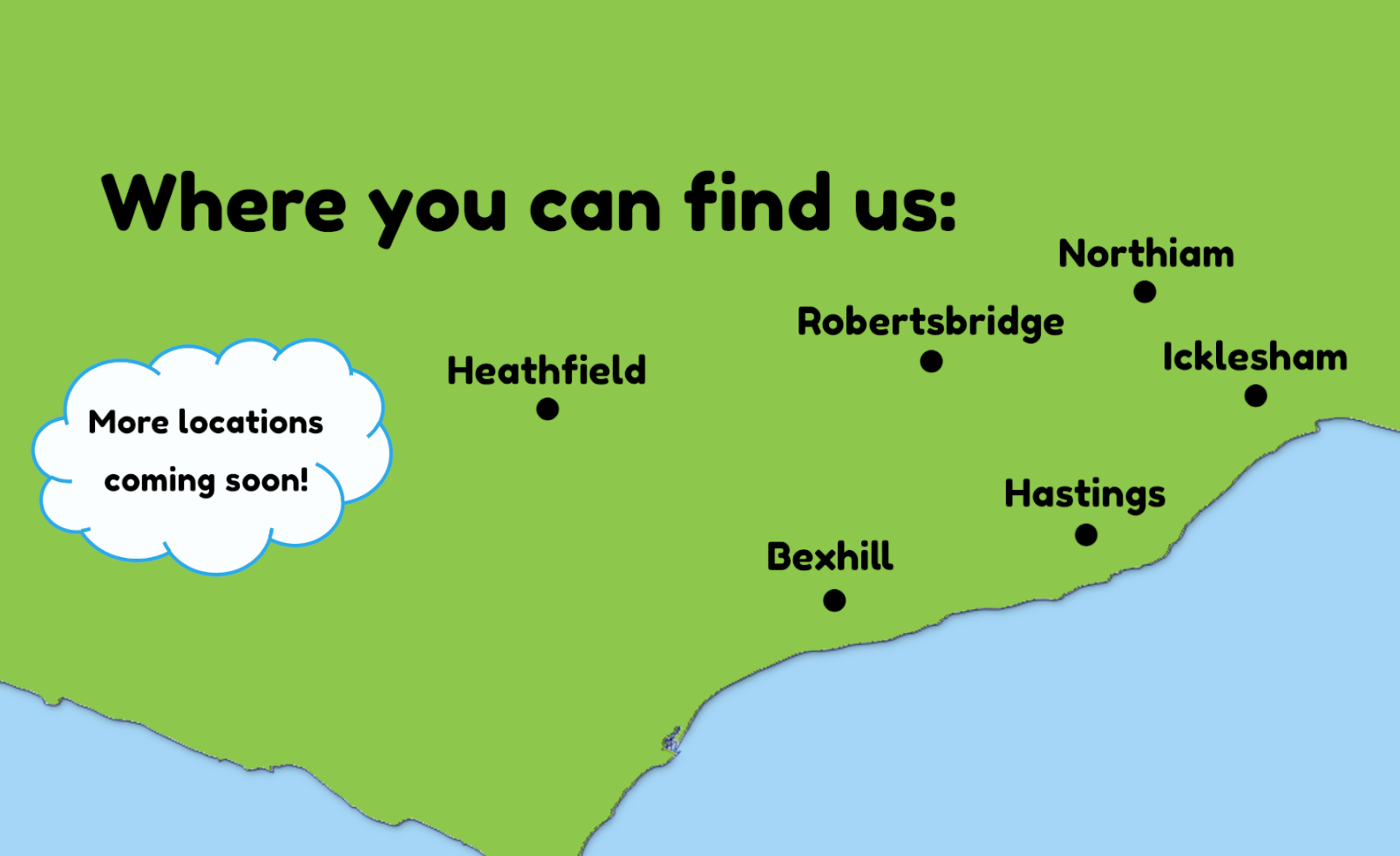 Map of East Sussex - Tiny Street Locations